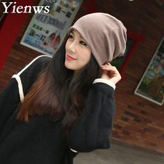 Yienws Bonnet Femme Women Skullies And Beanies Hat Female Spring Summer Solid Headgear For Women Slouch Cap 2 Uses Hats YJWG003