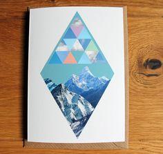 Raute liebt Berglandschaft Collage Grußkarte samt von nininotschka, €3,50