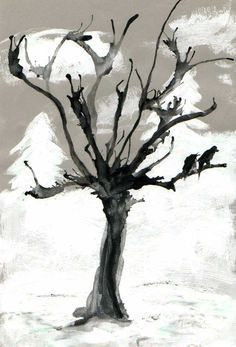 "Interdisciplinary teaching (art & German): Image for the poem ""I paint … - Grundschule Art Education Lessons, Art Lessons, Winter Art, Halloween Art, Elementary Art, Elementary Education, Art Plastique, Teaching Art, Tree Art"