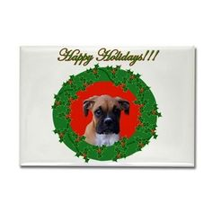 Happy Holidays Boxer puppy magnet  #holiday #christmas #boxer #dog #pet #magnets #gifts #giftsunder25