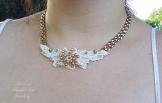 Lace Necklace  ArtEraBridalVeil  Ivory Lace gold by ArtEraBridal