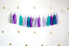Teal Blue, Purple, Silver Tassel Garland - Mermaid Party Decor, Frozen Winter…