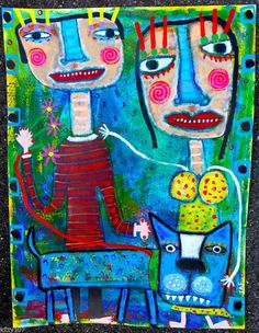 Tracey Ann Finley Original Outsider Raw Folk Paper Painting Walking The Blue Dog #OutsiderArt