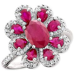 Ruby and Diamond Ring in 14kt White Gold