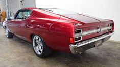 Ford Torino, Custom Muscle Cars, Custom Cars, Burgundy Paint, 2010 Ford Mustang, Black Hood, Ford Classic Cars, Ford Fairlane, Ford Falcon
