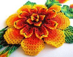 Huichol Beaded Flower Necklace by Aramara on Etsy Peyote Patterns, Beading Patterns, Flower Patterns, Huichol Art, Cross Stitch Rose, Embroidery Jewelry, Flower Necklace, Beaded Necklace, Loom Beading