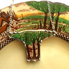 Broken china jewelry necklace vintage Art Nouveau Trees forest made from a broken plate by dishfunctionldesigns on Etsy