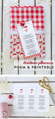 Sewing Gifts A free printable gift tag with a poem to attach to a pillowcase to give as a gift for Christmas. A free printable pillowcase poem. Christmas Presents For Grandparents, Diy Christmas Presents, Christmas Eve Box, Christmas Pillow, Christmas Projects, Holiday Crafts, Christmas Holidays, Christmas Ideas, Christmas Sewing Gifts