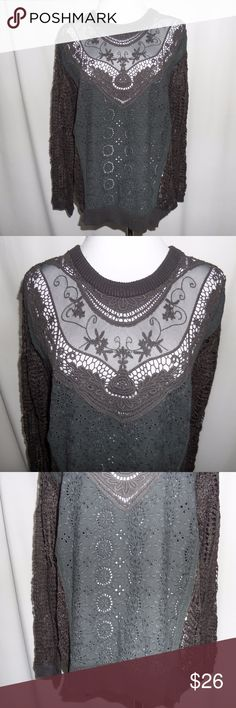"""Unique Gray Mixed Media Sweater Beautiful sweater to get you ready for those chilly Fall days! Mix of crochet, knit, and lace. Sheer...perfect with a cami underneath! Cotton/acrylic blend. Dry clean.  Small: ***SOLD OUT*** Length: 26.5"""" Pit to pit: 21""""  Medium: (Last one!) Length: 27"""" Pit to pit: 21""""  Large:  Length: 25"""" Pit to pit: 21.5""""  -measured flat- Hem & Thread Sweaters"""