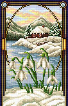 Śnieżyczka (Styczeń) (miesiące, kwiaty, widok, pejzaż)