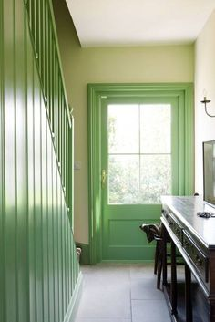 Green farmhouse hallway with matching painted stairwell and front door - we take a look at the work of interior designer, shopkeeper & architect Ben Pentreath, purveyor of modern English style. Attic Apartment, Attic Rooms, Attic Spaces, Attic Bathroom, Attic Playroom, Attic Renovation, Attic Remodel, Attic Design, Interior Design