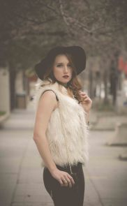 fur vest leather pants floppy hat personal style city life street style black and white