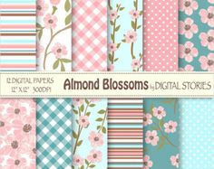 Floral Digital Paper:  HIMALAYA SKY Light Blue by DigitalStories