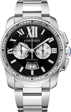 Calibre de Cartier Chronograph watch42 mm, steel