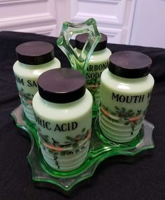 JEANNETTE Jadeite  Bi-Carbonate Soda, Boric Acid, Mouth Wash, Epsom Salt jars