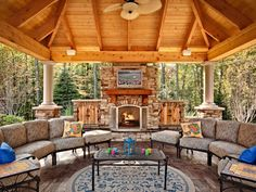Stunning area to spend time with family or throw a party.  The fan, fireplace and roof assures that the space is perfect year-round!