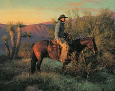 Desert Morning - Artwork By Bill Owen Native American Art, American Artists, Cowboy Artwork, Cowboy Images, Bill Owen, Southwest Art, Le Far West, Old West, Horse Art