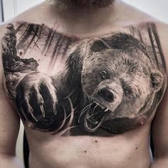 Angry Bear Tattoos for men Angry Bear Chest Piece Tattoos, Chest Tattoo, Body Art Tattoos, Gorilla Tattoo, Lion Tattoo, Tattoo Boy, Animal Tattoos For Men, Tattoos For Guys, Master Tattoo