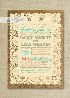 Lace Burlap Couples Shower Invitation Vintage Rustic Coral & Turquoise Text Wedding Bridal Invitation Digital or Printed - Jackie Style on Etsy, $23.00