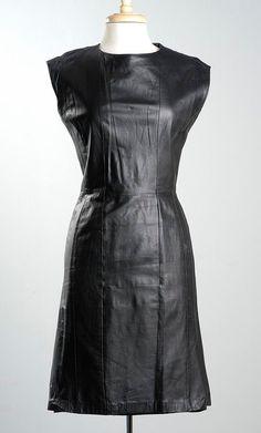 Vintage 80s Sleeveless Black Leather Dress Midi by StyleandSalvage