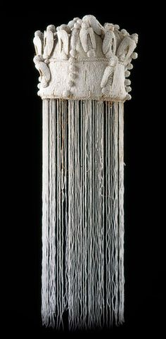 White beaded crown from the Yoruba people of Nigeria | Glass beads, thread, cloth and plant fibers