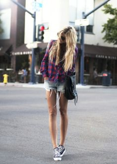 (Top - Etoile Isabel Marant, Sunglasses - Celine, PS1 Bag - Proenza Schouler, Shorts - Ksubi, Shoes - Converse)