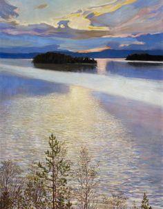 """LAKE VIEW"" Artist: Akseli Gallen-Kallela (Finland oil on canvas x cmAteneum Art Museum, Helsinki Nordic Art, Scandinavian Art, Landscape Art, Landscape Paintings, Fantasy Magic, National Gallery, Lake View, Helsinki, Painting & Drawing"