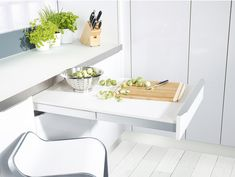 Kitchen Storage & Accessories Pull-out Table System, Top Flex - order from the Häfele America Shop. Modern Cabinets, Base Cabinets, Mint Kitchen, Compact Kitchen, Kitchen Stories, Cuisines Design, Küchen Design, Interior Design Kitchen, Kitchen Organization