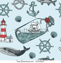 anchor fish steering wheel ship in a bottle sea shell lighthouse whale. Nautical Drawing, Nautical Art, Nautical Themed Tattoos, Vintage Nautical Tattoo, Nautical Pattern, Clipart, Bottle Drawing, Ship Drawing, Sea Theme