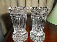 Depression glass bud vases - possibly Crown Crystal Glass Co. I have this in amber and flint (clear) but would love a flint frosted one Glass Company, Bud Vases, Fountain Pen, Frost, Depression, Glass Vase, Amber, Crystals, Green