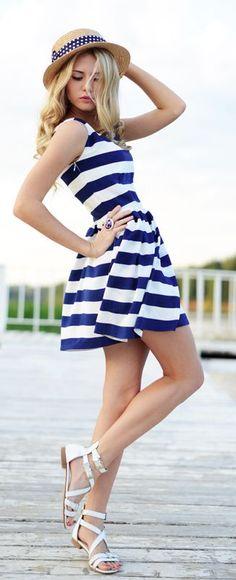 Stunning Summer Blue Strips White Dress Summer 2015 Trendy Looks