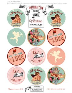 "Great FREE printable graphics from The Graphics Fairy... Intended for cupcake toppers but we think they'd make great VALENTINE""S DAY ENVELOPE SEALS... Just print, cut and paste!"