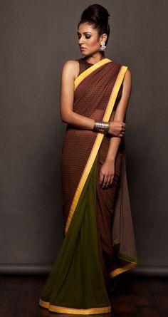 SVA Olive green printed sari