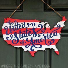 patriotic usa map wooden door hanger, crafts, doors, outdoor living, patriotic decor ideas, seasonal holiday decor