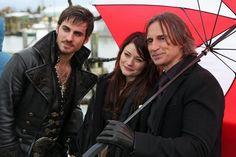 Colin O'Donoghue (Killian Jones/Hook), Emilie de Ravin (Belle) and Robert Carlyle (Mr. Gold, Rumplestiltskin)