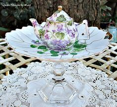 Violets Miniature Teapot Pedestal Whimsy / by GardenWhimsiesByMary