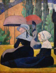 BERNARD Emile,1892 - Les Bretonnes aux Ombrelles - Detail 25 - DENIS on BERNARD artworks in 1943 : « Adresse du pinceau. Il avait, dès ses débuts, le sens de la composition et il a toujours su bien remplir sa surface. Son dessin est resté ce qu'il était, décoratif, inventé, stylisé. Il a changé de manière, mais il a toujours été un maniériste. » (DENIS, Journal, 1943)