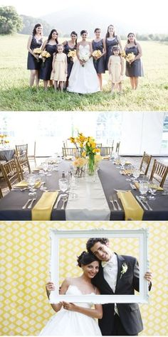 Cute themed yellow & gray - would do mint green and grey with purple touches