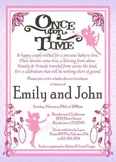 'Once Upon a Time' Baby Fairy Tale Shower Invitations- Colors and fonts customizable!