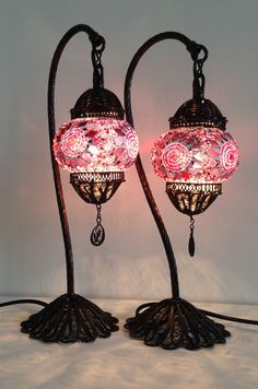 Pair of Exotic Bohemian Mosaic lamps with hand crafted copper base