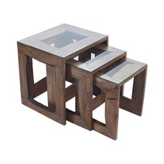 Every sophisticated space deserves equally elegant furnishings. Charmingly crafted, these Hanley Nesting Tables feature handsome dark wood frames and sleek glass tops. These cool, contemporary tables w...  Find the Hanley Nesting Tables - Set of 3, as seen in the The Great Indoors  Collection at http://dotandbo.com/collections/2015-trends-the-great-indoors?utm_source=pinterest&utm_medium=organic&db_sku=110040