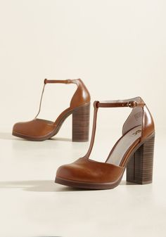 Catch You on the Upside Heel in Caramel. Buckle into these tan heels from BC Footwear and say bye-bye to boring style. #tan #modcloth