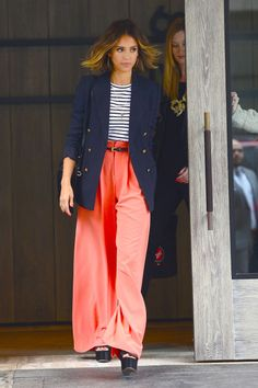Who: Jessica Alba What: Coral-hued pants Why: Jessica Alba takes her nautical look to new heights with a pair of bright, coral colored pants. Get the look now: Emilio Pucci trousers, $1,005, shopBAZAAR.com.