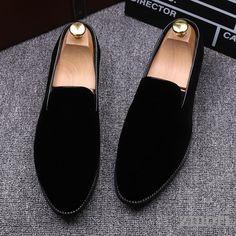 f668d524a5fa Black Velvet Mens Oxfords Flats Loafers Dress Shoes
