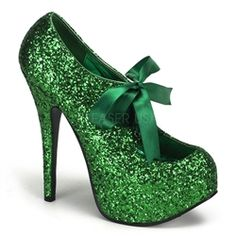 """$89 Bordello Teeze 10G in Green Glitter. 5 3/4"""" Heel Glitter Platform with Sparkly Glitter and Mary Jane Ribbon Bow Tie across the front."""