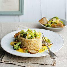 Quinoa mit Brokkoligemüse und Curryschaum Rezept | Küchengötter