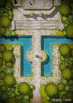 A Temple in the Forest battlemap) : battlemaps Dnd World Map, Fantasy World Map, Dungeons And Dragons Homebrew, D&d Dungeons And Dragons, Building Map, Rpg Map, Map Pictures, Pathfinder Rpg, Fantasy Battle