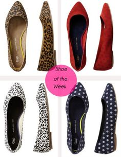 Gap Printed Pointed Flats - top left is on my must-buy list for the fall