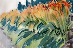 """Daylillies"" watercolor by Alix Travis"