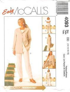 MCCALLS 4093 - FROM 2003 - UNCUT - MISSES UNLINED JACKET, TUNIC, DRESS & PANTS